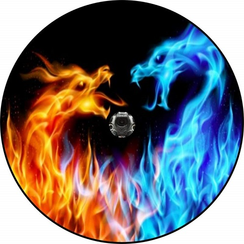 Fire and Ice Dragons Tire Cover - Back Up Camera Ready