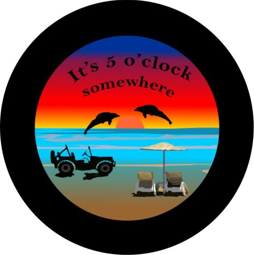 Black Jeep Its 5 Oclock Somewhere Tire Cover on Black Vinyl : its20520oclocksr from www.teamsportscovers.com size 600 x 600 jpeg 71kB