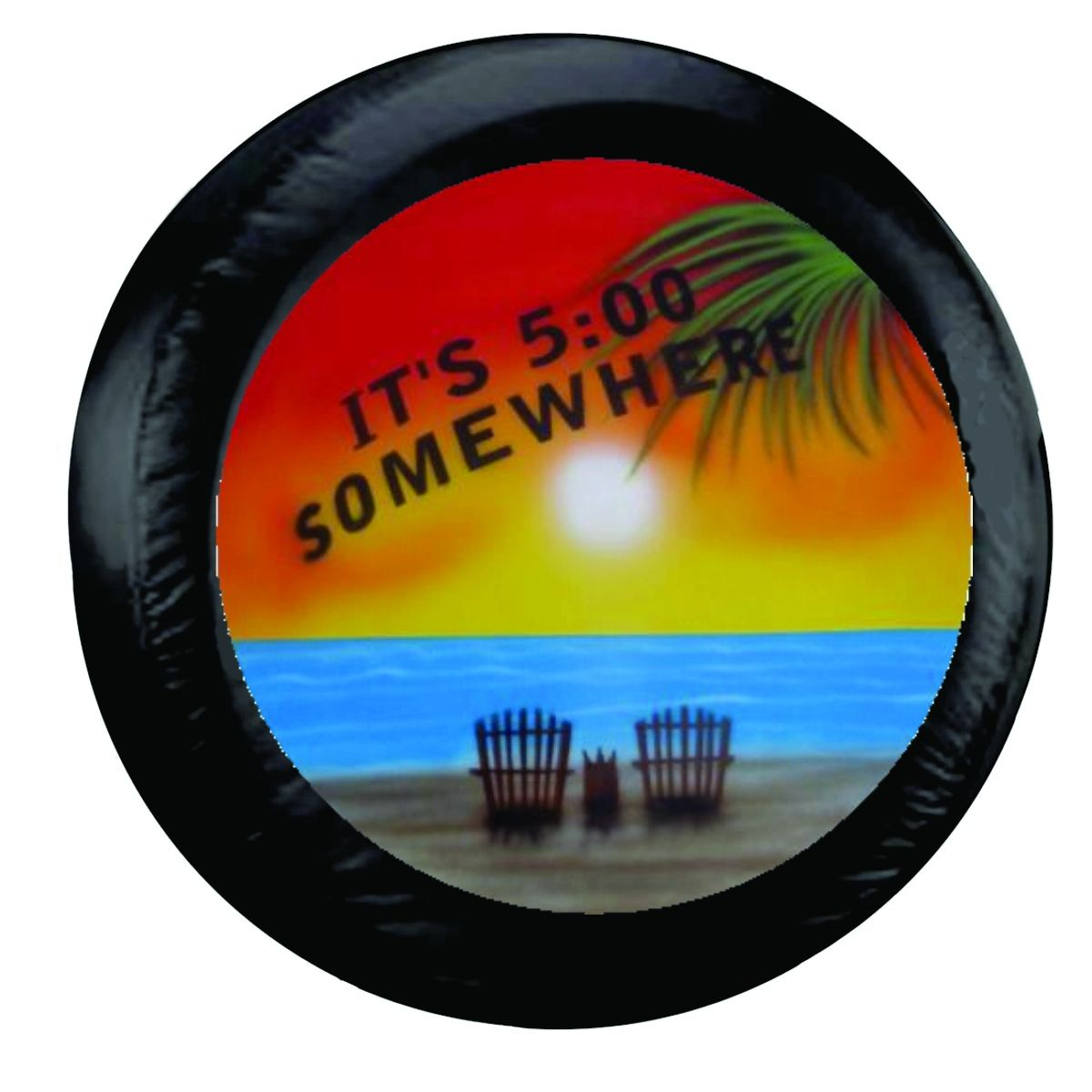 It S 5 O Clock Somewhere Palm Beach Spare Tire Cover On Black