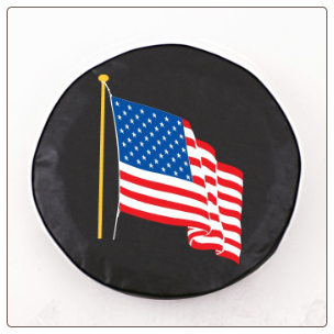 American Flag Military Spare Black Tire Cover