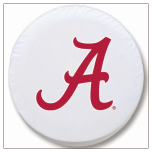 Alabama Crimson Tide College Tire Covers Script A White